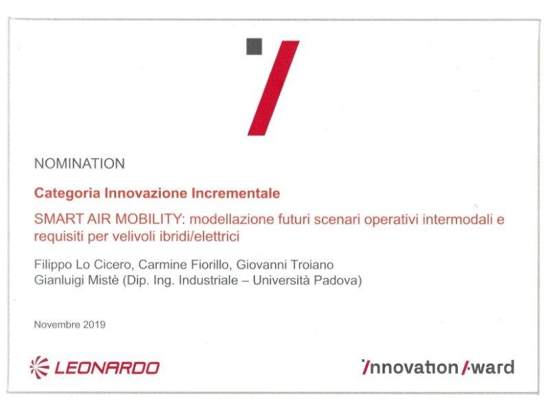 Leonardo Inn Award smart air mobility velicoli ibridi elettrici