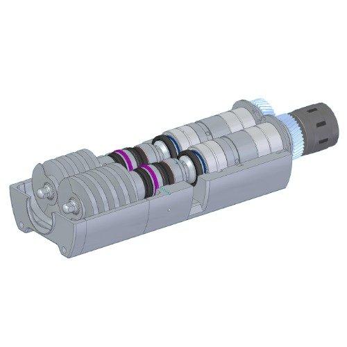 Pompa volumetrica: Sviluppo pompa bivite